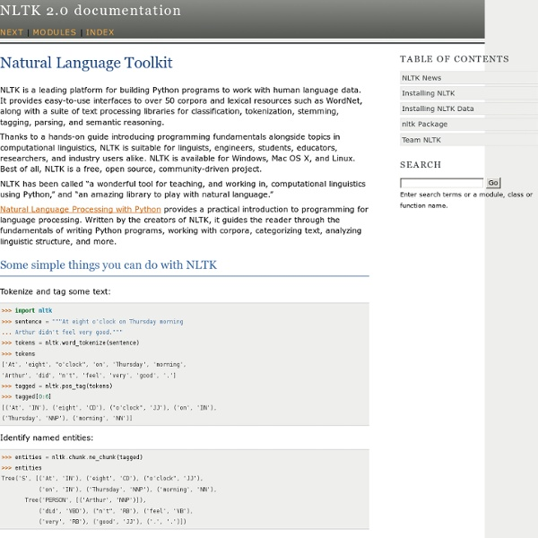 Natural Language Toolkit — NLTK 2.0 documentation