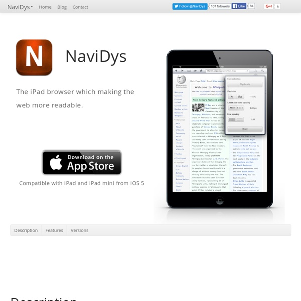 NaviDys : The iPad browser which making the web more readable.