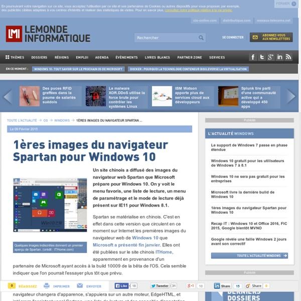 1ères images du navigateur Spartan pour Windows 10