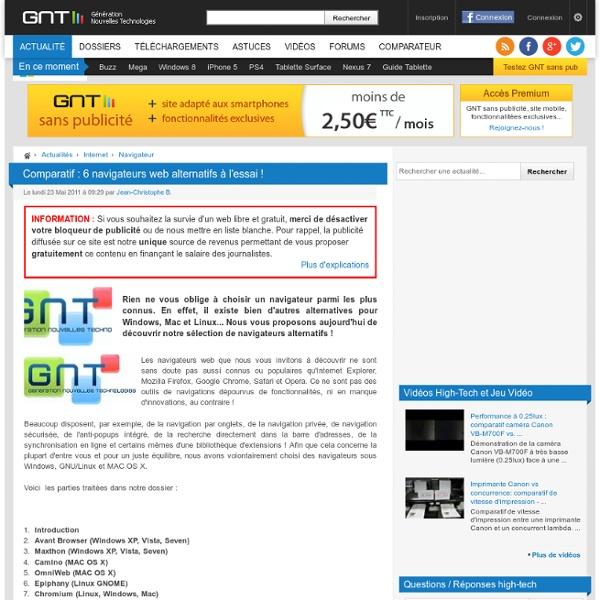 Comparatif : 6 navigateurs web alternatifs à l'essai !