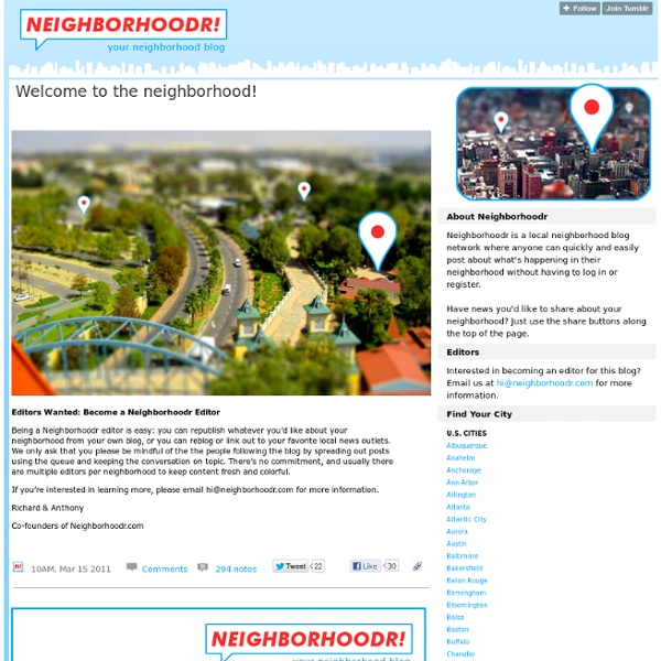 Neighborhoodr : Welcome to the neighborhood!
