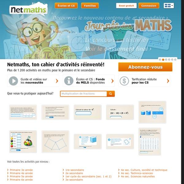 Netmaths - Ton cahier d'activités réinventé!