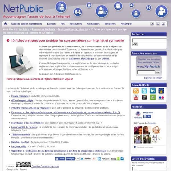 10 fiches pratiques pour protéger les consommateurs sur Internet et sur mobile