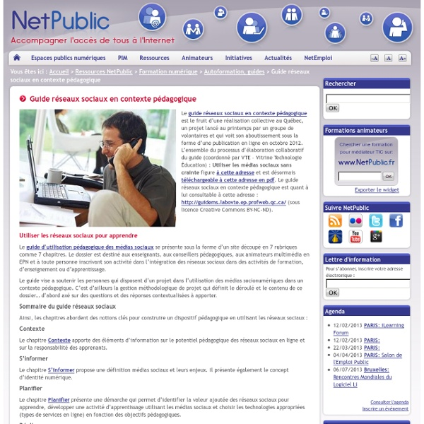 Guide réseaux sociaux en contexte pédagogique