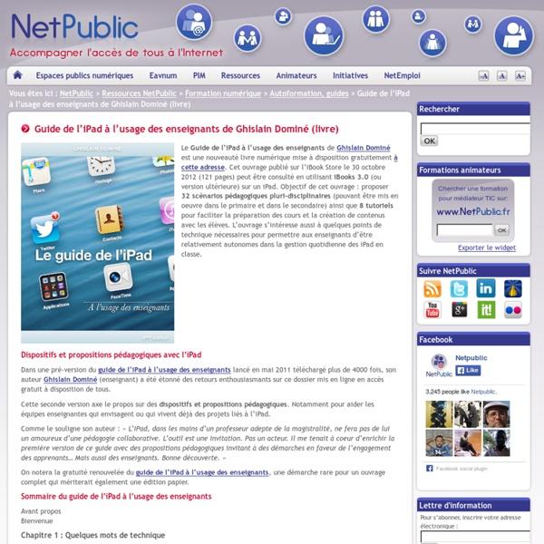 Guide de l'iPad à l'usage des enseignants de Ghislain Dominé (livre)