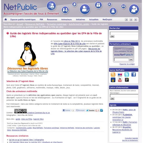 Guide des logiciels libres indispensables au quotidien (par les EPN de la Ville de Lille)