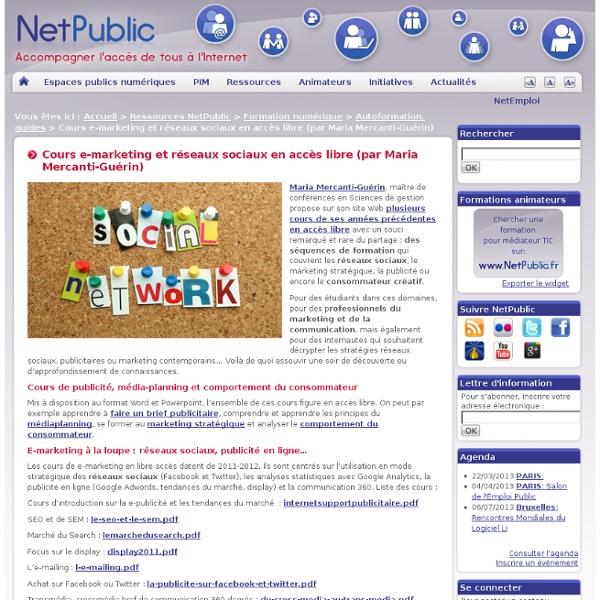 Cours e-marketing et réseaux sociaux en accès libre (par Maria Mercanti-Guérin)