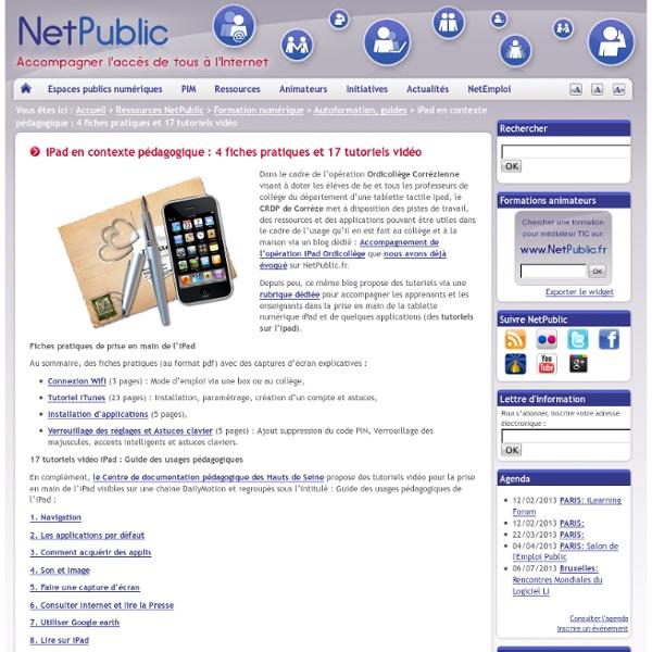 iPad en contexte pédagogique : 4 fiches pratiques et 17 tutoriels vidéo