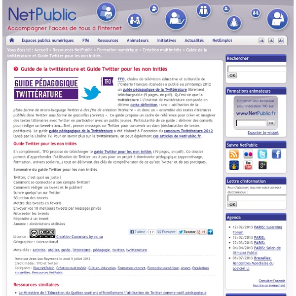 Guide de la twittérature et Guide Twitter pour les non initiés