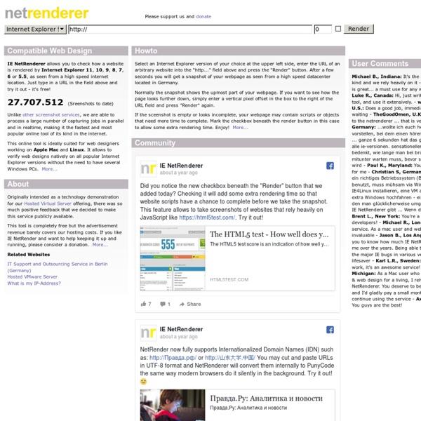 IE NetRenderer - Internet Explorer Compatibility Check -