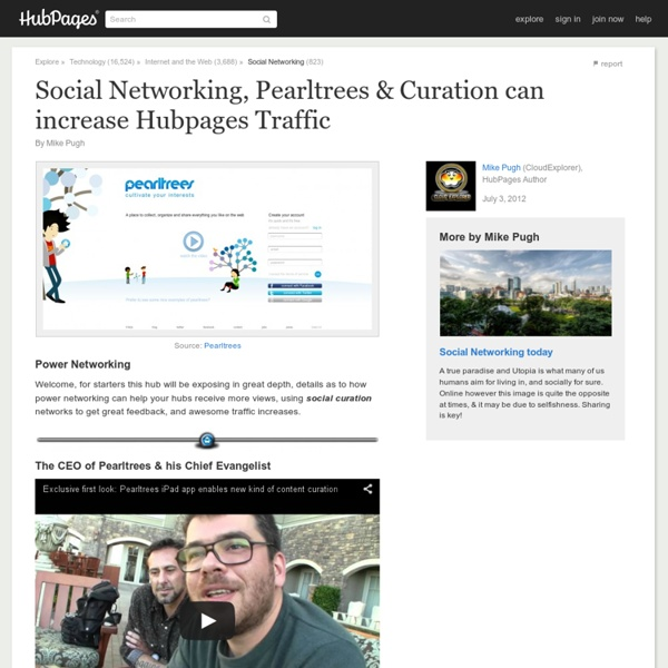 Social Networking, Pearltrees & Curation can increase Hubpages Traffic