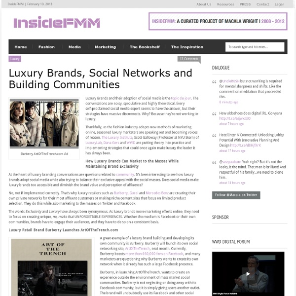 Luxury Brands, Social Networks and Building Communities «FMM
