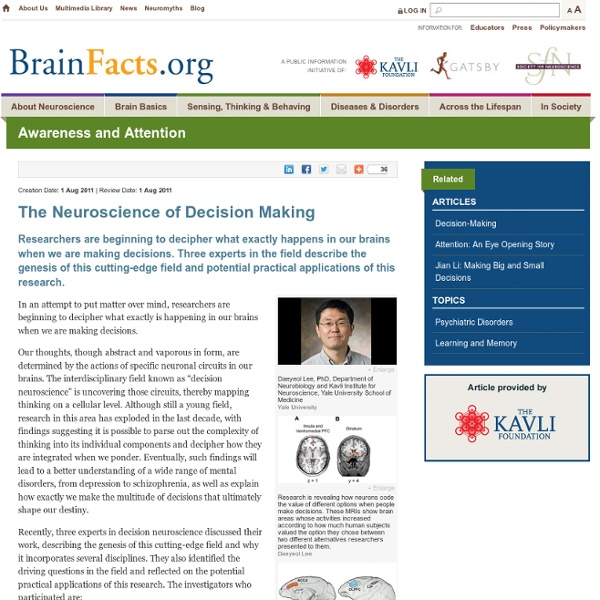 The Neuroscience of Decision Making