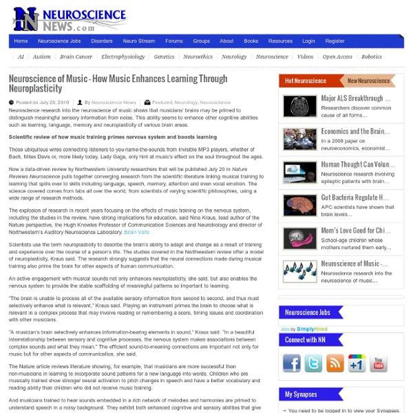 Neuroscience of Music - How Music Enhances Learning - Neuroplasticity