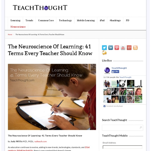 The Neuroscience Of Learning: 41 Terms Every Teacher Should Know - TeachThought
