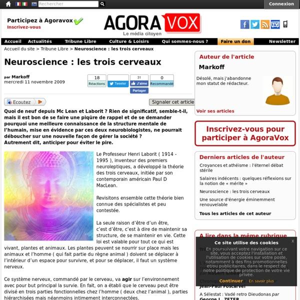 Neuroscience : les trois cerveaux