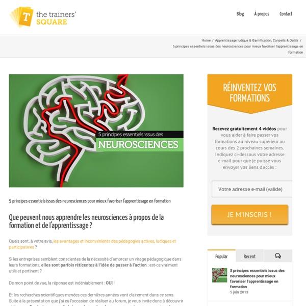 5 principes issus des neurosciences pour favoriser l'apprentissage en formation