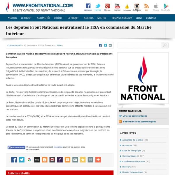 Les députés Front National neutralisent le TISA en commission du Marché Intérieur