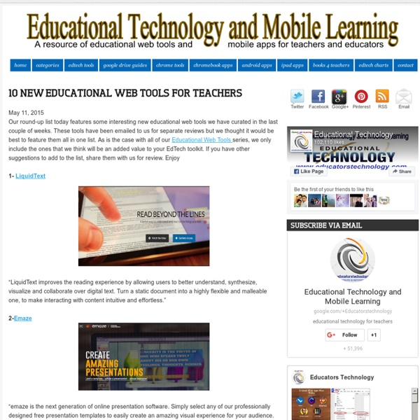 Educational Technology and Mobile Learning: 10 New Educational Web Tools for Teachers