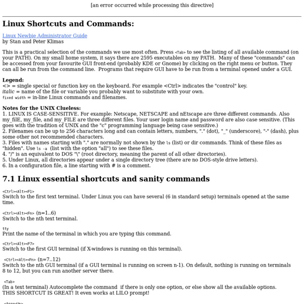 Linux Newbie Guide: Shortcuts And Commands