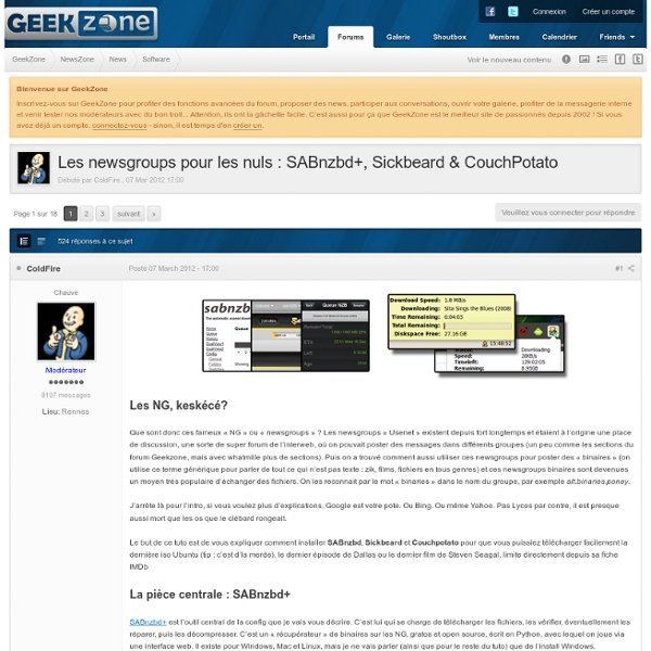Les newsgroups pour les nuls : SABnzbd+, Sickbeard & CouchPotato - Software