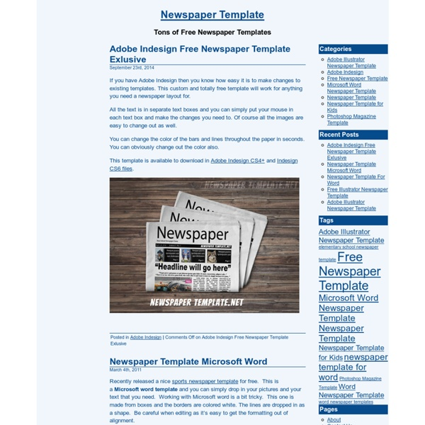 Newspaper Template, Microsoft Word Newspaper Templates For Kids