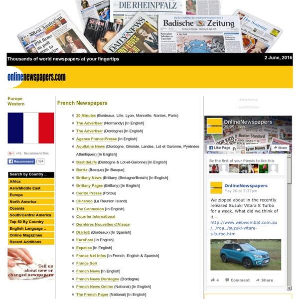 French Newspapers : Newspapers from France : French News : Journaux Français