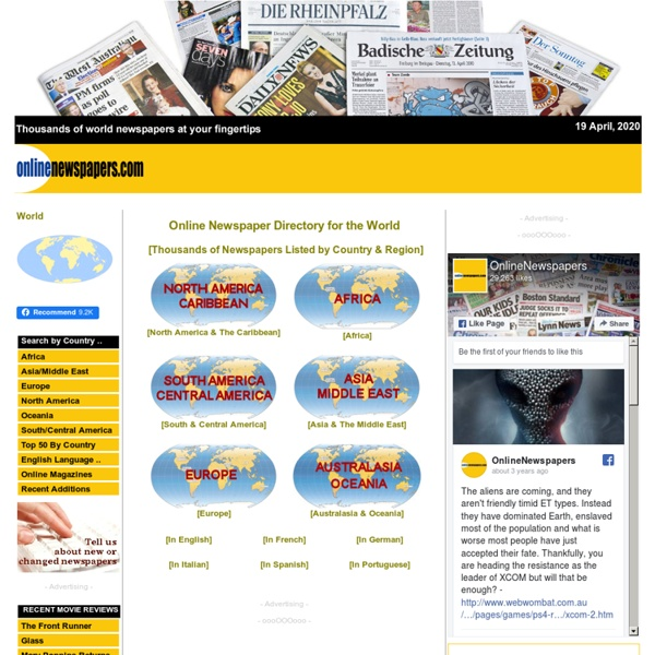 Thousands of Online Newspapers on the Web : World Newspaper Directory : Listed on OnlineNewspapers.com