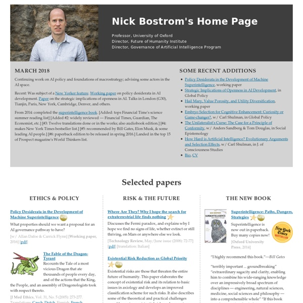 Nick Bostrom's Home Page