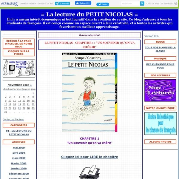 """Le Petit Nicolas - Chapitre 1 : """"Un souvenir qu'on va chérir"""" - = La lecture du PETIT NICOLAS ="""