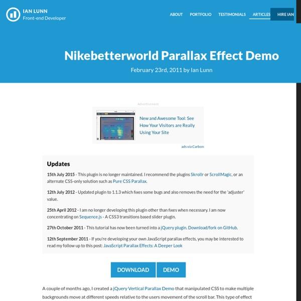 Nikebetterworld Parallax Effect Demo
