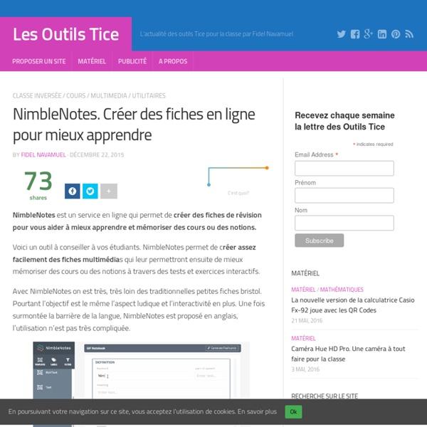 NimbleNotes. Créer des fiches en ligne pour mieux apprendre – Les Outils Tice