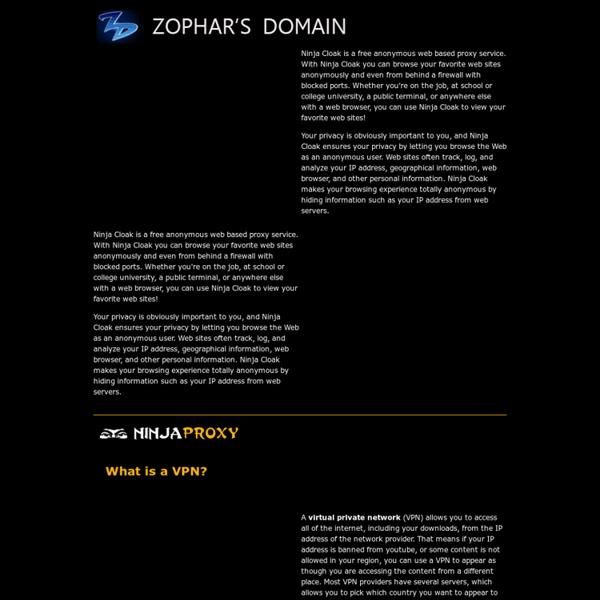 Fast, free, anonymous web browsing with NinjaCloak.com