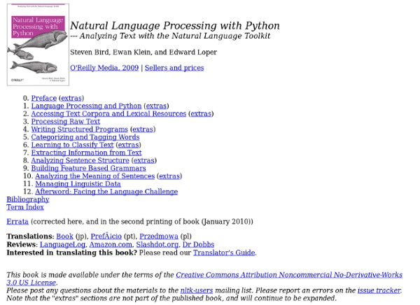 Book - Natural Language Toolkit