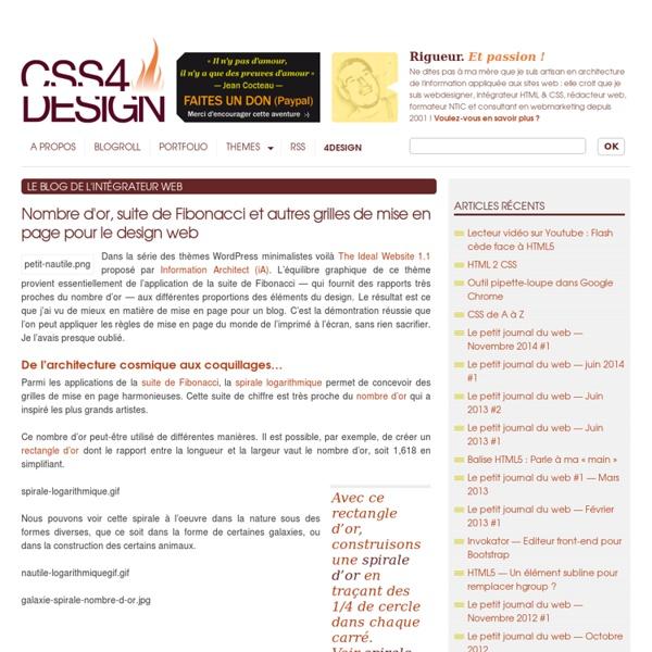 Nombre d'or, suite de Fibonacci et autres grilles de mise en page pour le design web