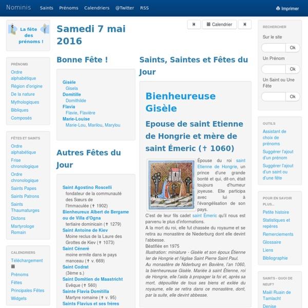 Nominis - Saints, Fêtes et Prénoms du jour