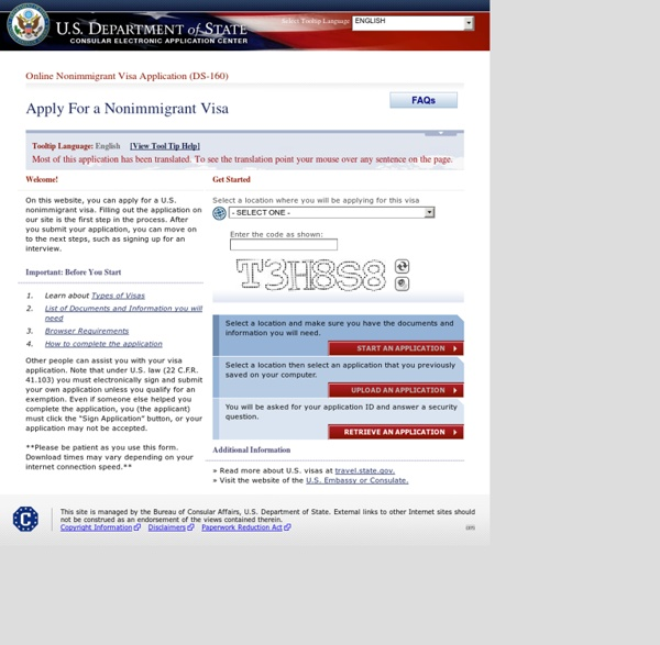 Nonimmigrant Visa - Instructions Page