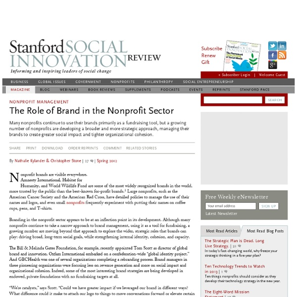 The Role of Brand in the Nonprofit Sector