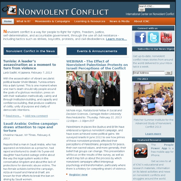 Learn about nonviolent conflict and civil resistance