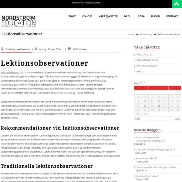 Lektionsobservationer – NORDSTRÖM EDUCATION