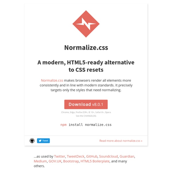 Normalize.css: Make browsers render all elements more consistently.