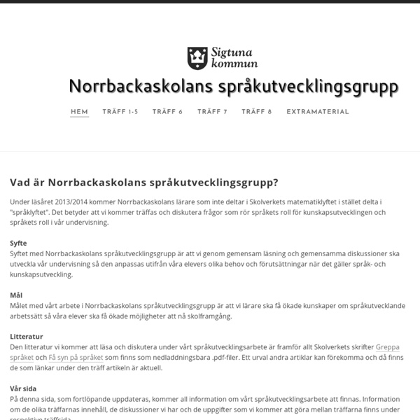 Norrbackaskolans språkutvecklingsgrupp - Hem