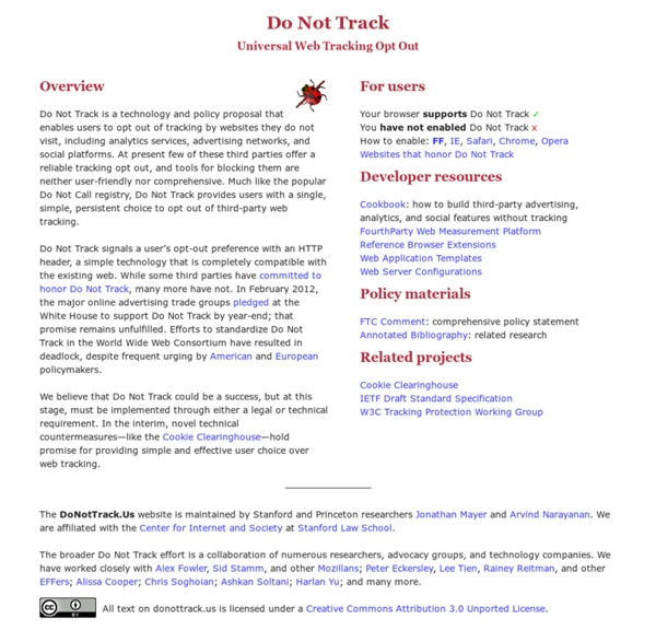 Do Not Track - Universal Web Tracking Opt Out
