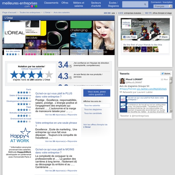 Notation et avis des salariés L'Oréal - meilleures-entreprises.com