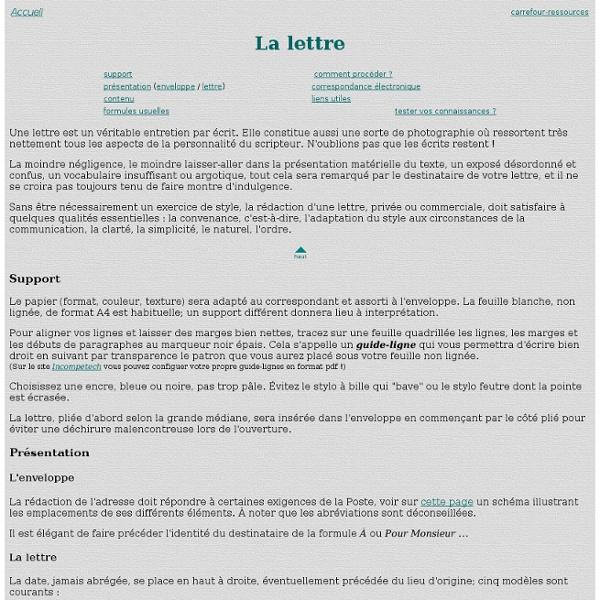Notes sur la lettre