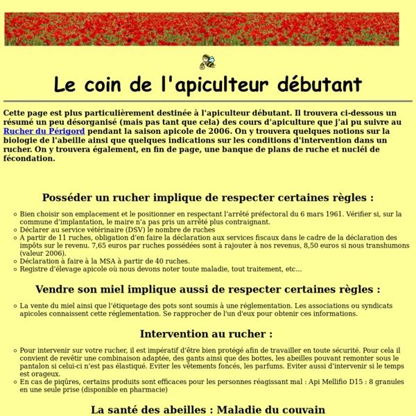 Notions d'apiculture et banques de plans de ruches