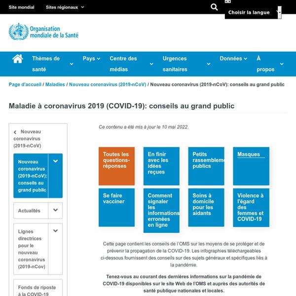 Nouveau coronavirus (2019-nCoV): conseils au grand public