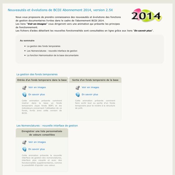 Nouveautés BCDI 2014