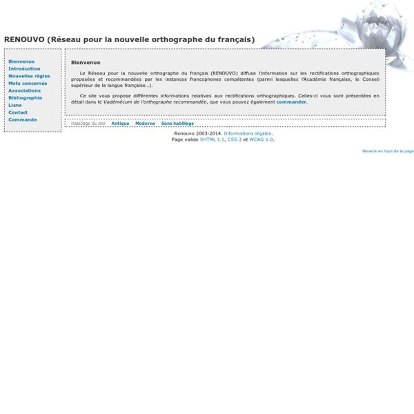 Renouvo (Réseau pour la nouvelle orthographe du français)