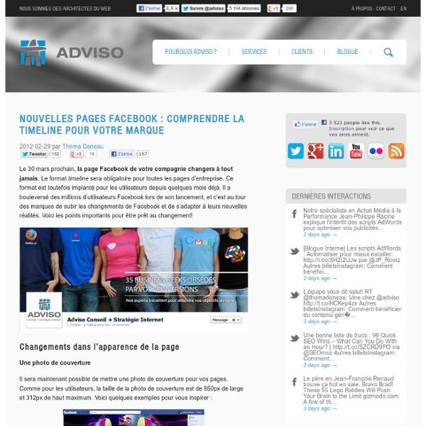 Nouvelles pages Facebook : Comprendre la timeline pour votre marque